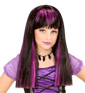 Girls Kids Child Purple Black Witch Wig Scary Halloween Buffy Vampire Fancy Dres