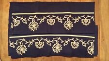 PAIR NAVY WHITE FLORAL EMBROIDERY PILLOWCASES FREE SHIPPING