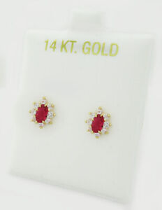 RUBY & WHITE SAPPHIRES STUD EARRINGS 14K GOLD * NEW WITH TAG * Screw Backs *