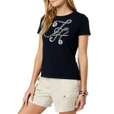 TOMMY HILFIGER NEW Women's Navy Floral Printed Crewneck Casual Shirt Top XL TEDO