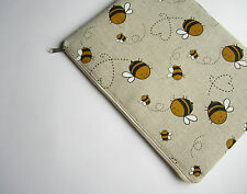 "Linen bees 13"" Laptop case for MacBook Air/Pro 13 sleeve zipped, handmade"