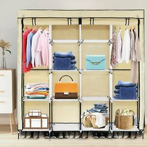 Canvas Wardrobe With Clothes Hanging Rail Clothes Storage Shelves Large Cupboard