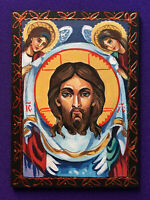 HAND PAINTED signed original painting christian icon Image of Edessa double ACEO
