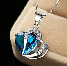 Collana Donna Cuore Cristallo Zircone Blu Strass Coppia Idea Regalo San Valentin