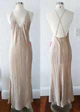 Bridal Formal Wedding Sexy Sleeveless Champagne Maxi Dress Gown Women's LARGE