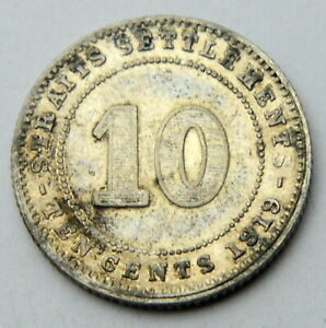 STRAITS SETTLEMENTS SILVER 10 CENTS 1919 OLD SILVER COIN