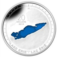 2014 $20 Fine Silver Coin 1 oz The Great Lakes: Lake Erie '14 Canadian Mint