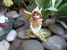 "Fairy Garden Miniature 1.5"" Hooded fairy figurine in Yellow New"