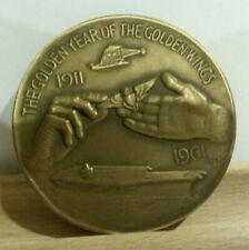 Naval Aviation 50th 1961 paperweight MACO medallion Golden year wings bronze