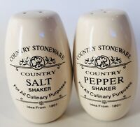Vintage Rustic Farm House Salt and Pepper Shaker Set by Country Stoneware