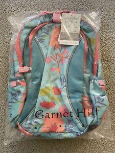 NWT Garnet Hill Kids Girls Backpack  Blue Green Orange Florals L