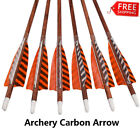 Turkey Feather Carbon Arrows Spine 400 for Recurve Bow Hunting Shooting(12pcs)