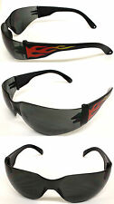 NEW Hot Rod Flame Arm Motorcycle Biker Wraparound Wrap Sunglasses + Free Pouch