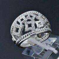 David Yurman Sterling Silver Diamond Venetian Quatrefoil Tapestry Ring Size 6.25