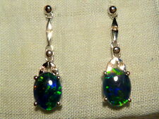 Opal Earrings 14ct White Gold & Diamond. Natural Triplet Opals 8x6mm Oval. 80317