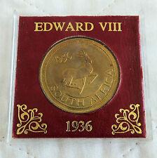 EDWARD VIII 1936 SOUTH AFRICA BRONZE PROOF PATTERN SPRINGBOK CROWN - cased