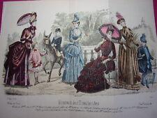 Double planche Journal des Demoiselles mai 1886 Mode de Paris 35x27 cm