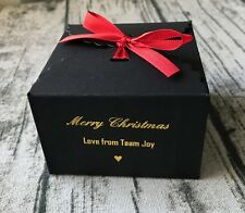 25 Black Merry Christmas Gift Boxes Personalised Gold Foil With Red Satin Ribbon