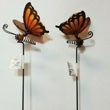 Mainstays Butterfly Garden Stakes *2 Pack* Vibrant Glass Wings Orange w/ Amber