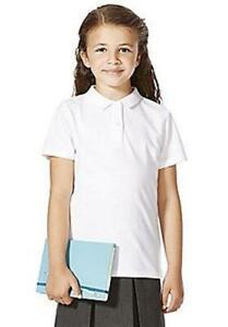 EX F&F 4 Pack Girls White Polo Shirts School Uniform Sports Primary Kids Childs
