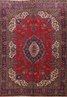 Vintage Floral Tebriz Area Rug Hand-Knotted Oriental Traditional Red Carpet 9x13