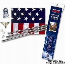 United States Usa American Flag Porch Golden Eagle Ornament Pole Flag Kit