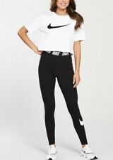 Nike Women's Swoosh Club Legging With waist Detail In Black Size L