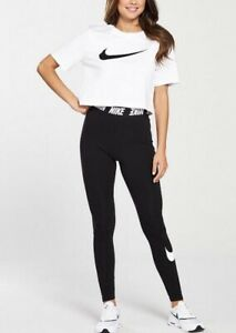 Nike Women's Swoosh Club Legging With waist Detail In Black Size L