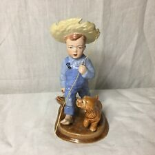 Boy and His Dog Fishing Pole Fish Figurine Signed By Trndy
