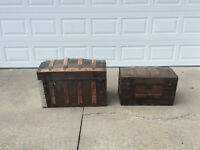 TWO Antique Trunks / Pirate Chests / Vintage Humpback & Steampunk - Lg & Sm