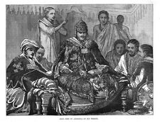 ETHIOPIA King John of Abyssinia on his Throne - Antique Print 1884