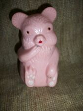 Vintage BABY Musical Friendly Pink Roly Poly Chime Teddy Bear