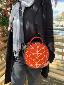 Orla Kiely Orange Circle Bag - Faux Leather Adjustable Crossbody Bag