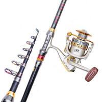 Carbon Fiber Ultralight Portable Travel Telescopic Fishing Rod Sea Spinning A2Y6