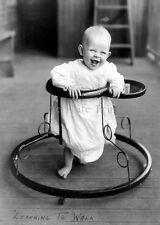 New 5 x 7 B/W Photo - Infant in Vintage Walker - Baby Products