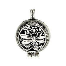1PC Vintage Silver Dragonfly Flowre Hollow Beads Cage Locket Pendant B89