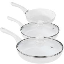 [pro.tec]® Keramik Pfannen Set 5-tlg. weiß Bratpfanne Induktion Grillpfanne
