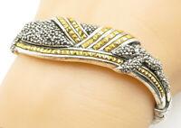 925 Sterling Silver - Vintage Sparkling Two Tone Ribbed Bangle Bracelet - B5446