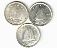 3 X CANADA 10 CENTS DIMES KING GEORGE VI SILVER COIN 1937 1938 1939