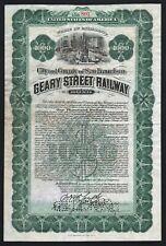 1910 San Francisco, California: Geary Street Railway Bond