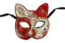 NEW Love Me Hearts Venetian Cat Masquerade Mask Hand Made Red One Size Unisex