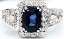 4.21CTW NATURAL BLUE SAPPHIRE AND DIAMOND RING IN 14K WHITE GOLD