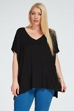 PLUS USA Women's Short Sleeve V Neck Loose Fit Basic Knit Tunic Top Piko Sleeve