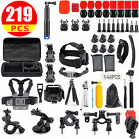 219 pcs GoPro Hero 8 7 6 5 4 Accessories Pack Case Chest Head Floating Monopod