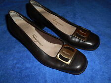 SALVATORE FERRAGAMO DARK BROWN PUMP SHOES LARGE BUCKLE SIZE 7 C FROM ITALY.!