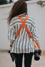 Multi-Camera dual leather strap harness shoulder fast belt Orange model