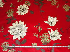 'Anya' Swatch Box Cherry Red Floral 100% Cotton Satin Curtain Fabric, 1.6 mts