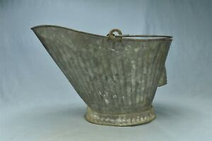 Vintage FARMHOUSE REGAL ZINC COAT STEEL COAL SCUTTLE BUCKET RUSTIC PRIMITIVE 763