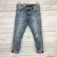 Kut From The Kloth Amy Crop Straight Leg Size 8 Destroyed Bleached Fray Cuff