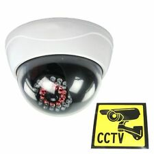 Dummy CCTV Dome Security Camera IR Fake Infrared LEDs Lightup in Dark & Sticker